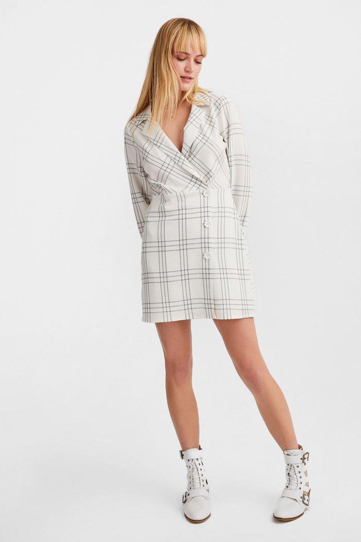 Oxxo Krem Kruvaze Yaka Mini Elbise