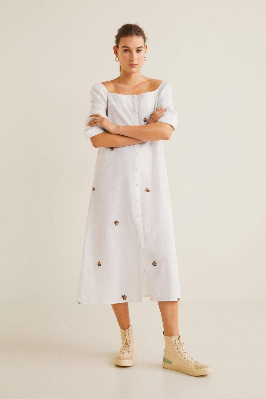 2868bb3647159 Mango Kırık Beyaz Çiçek İşlemeli Midi Elbise   ElbiseBul