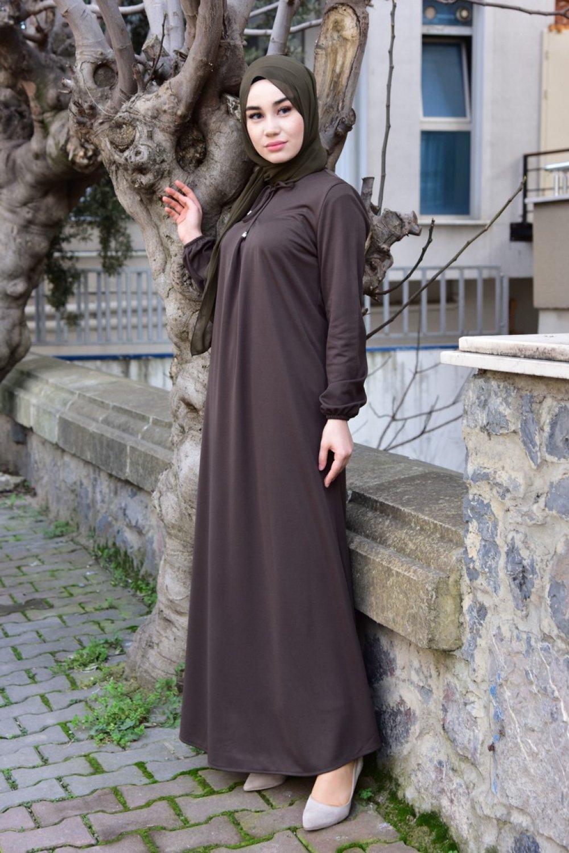 6b5b23f3db97b Sefamerve Haki Kolu Lastikli Elbise | ElbiseBul