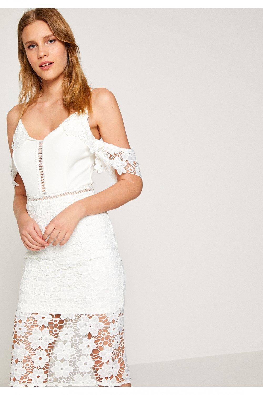 395ee8ac19c84 Koton Beyaz Mini Dantel Abiye Elbise | ElbiseBul