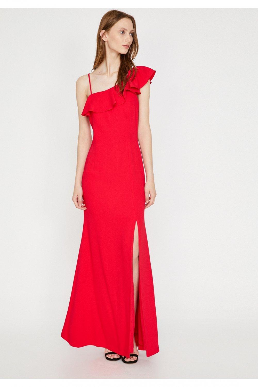d6153cd2c7f58 Koton Askılı Kırmızı Uzun Abiye Elbise | ElbiseBul