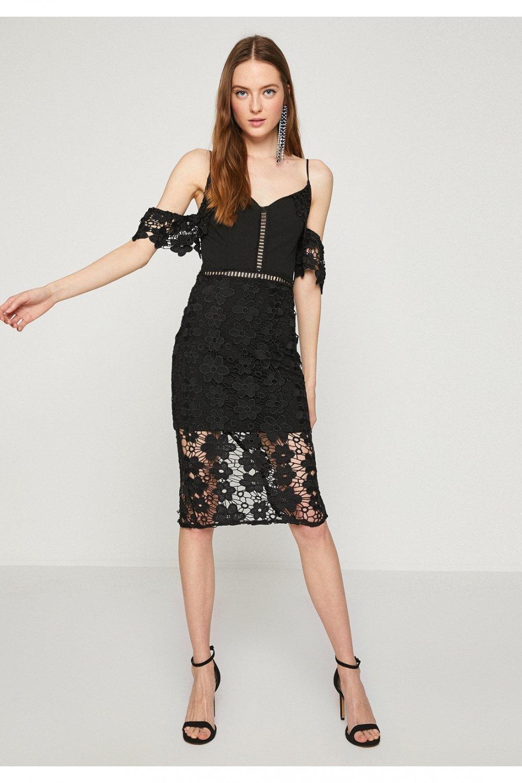 890d16f0dd044 Koton Siyah İnce Askılı Dantelli Midi Abiye Elbise | ElbiseBul