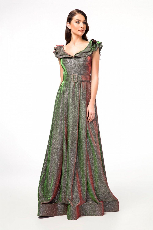 db07811e004f9 Abiye Sarayı Kahverengi Vizon Klasik Uzun Abiye Elbise | ElbiseBul