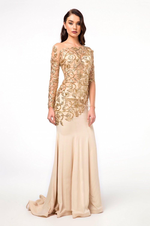 84b9119790741 Abiye Sarayı Gold Uzun Womentic Abiye Elbise | ElbiseBul