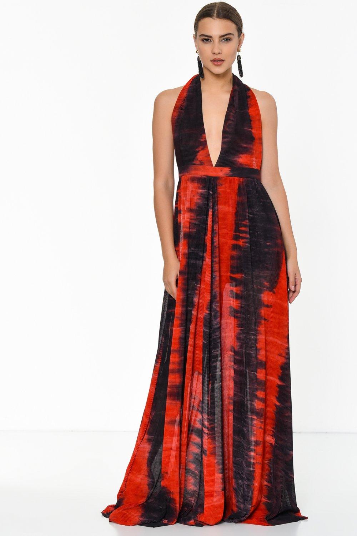 32e15e293853c Designers Of Oz Sırt Dekolteli Siyah/Kırmızı Uzun Abiye Elbise ...