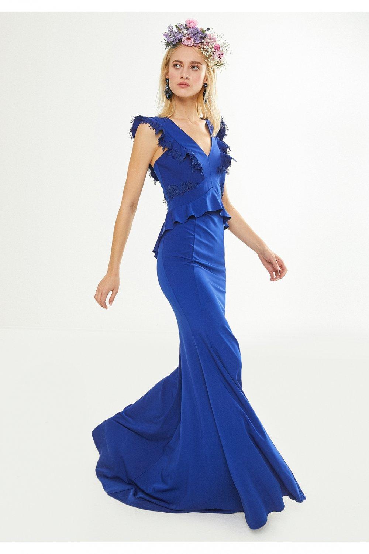 9e85aaa5b4c65 Koton Saks Mavisi Uzun Abiye Elbise | ElbiseBul
