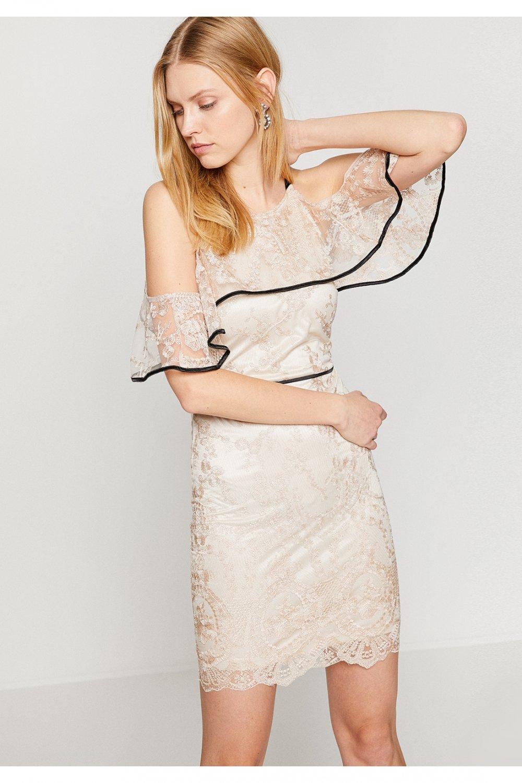 40182a2a2eb6d Koton Askılı Altın Mini Abiye Elbise | ElbiseBul
