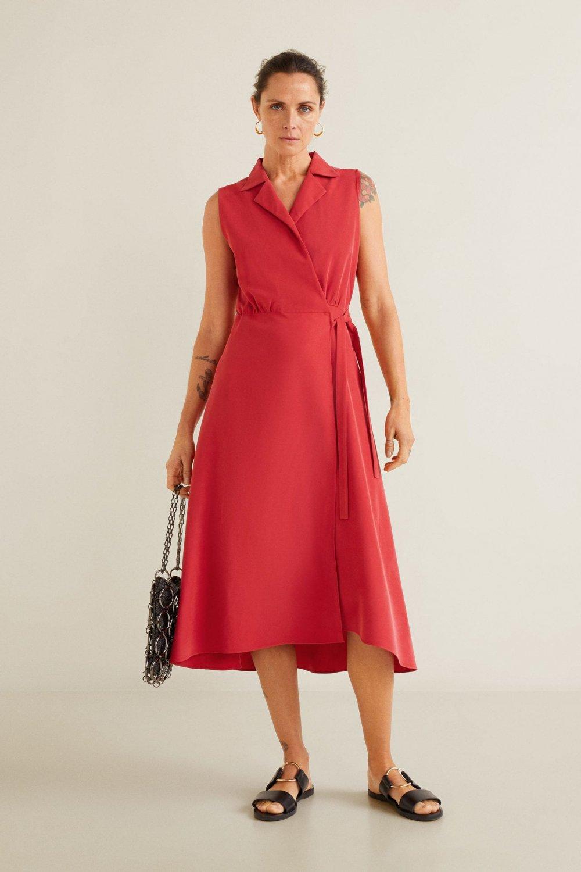 20a38779d4e37 Mango Çilek Kırmızısı Kuşaklı Gömlek Midi Elbise | ElbiseBul