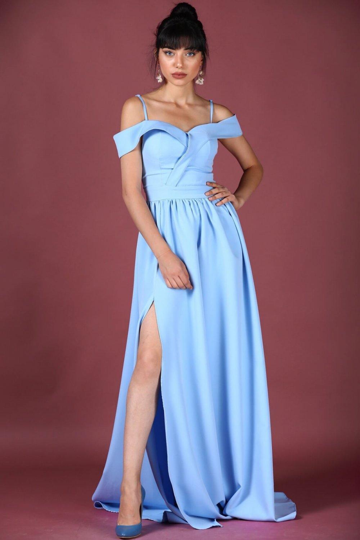 826239221c04f Patırtı Askılı Kayık Yaka Buz Mavisi Uzun Abiye Elbise | ElbiseBul
