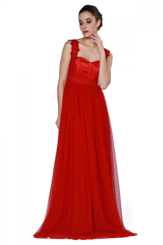 c44fc9aad4793 Pierre Cardin Askılı Kırmızı Uzun Şifon Abiye Elbise | ElbiseBul