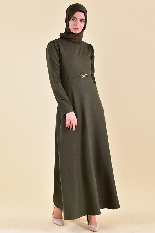 Sefamerve Haki Kemer Detaylı Elbise