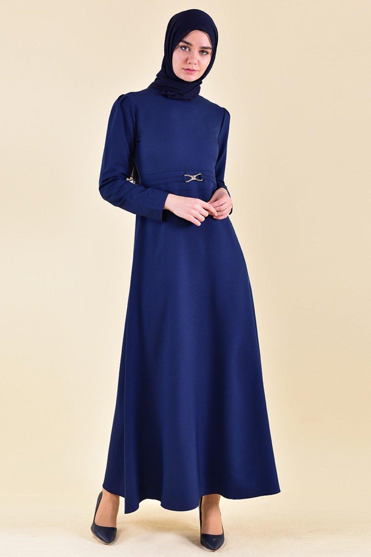 Sefamerve Lacivert Kemer Detaylı Elbise