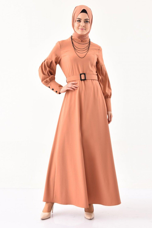 Sefamerve Soğan Kabuğu Kemerli Elbise
