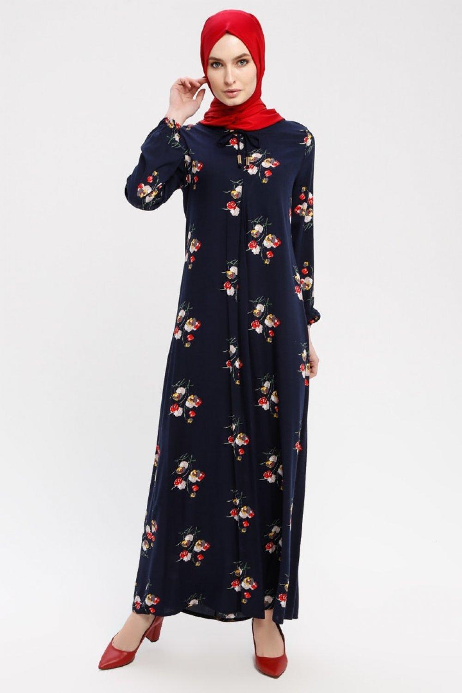 Ginezza Lacivert A Pileli Desenli Elbise