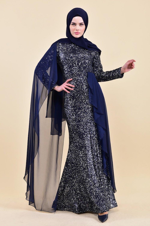 Sefamerve Lacivert Payetli Abiye Elbise