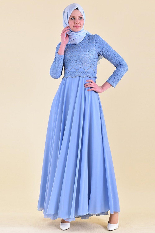 Sefamerve Mavi Dantelli Abiye Elbise