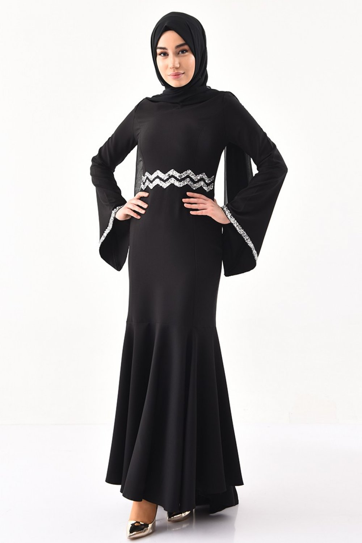 Sefamerve Siyah Payetli Balık Abiye Elbise