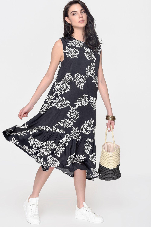dccc35f1df001 Loves You Siyah-Beyaz Yaprak Desenli Yarım Piliseli Midi Elbise ...