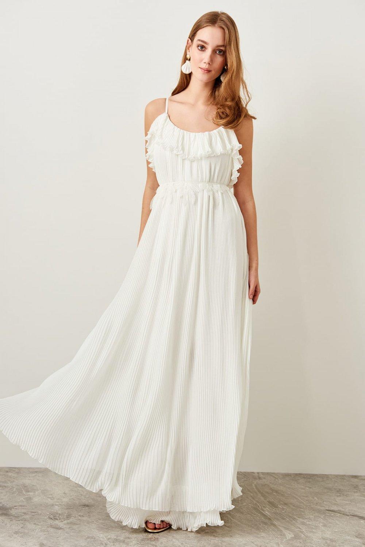 Trendyolmilla Askılı Beyaz Kemer Detaylı Uzun Abiye Elbise