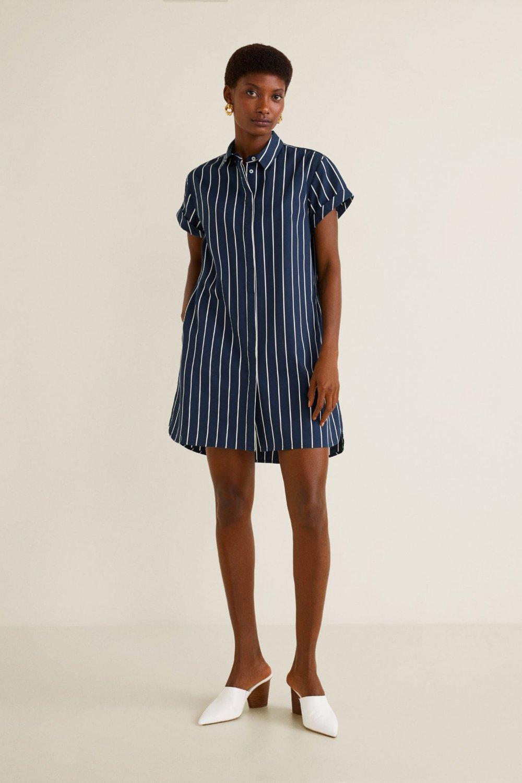 Mango Lacivert Gömlek Mini Elbise