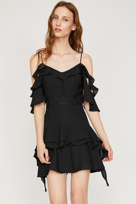 Koton Siyah Askılı Mini Abiye Elbise