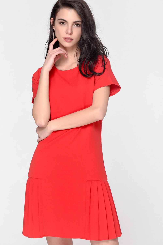 Loves You Kırmızı Kısa Kol Piliseli Mini Elbise