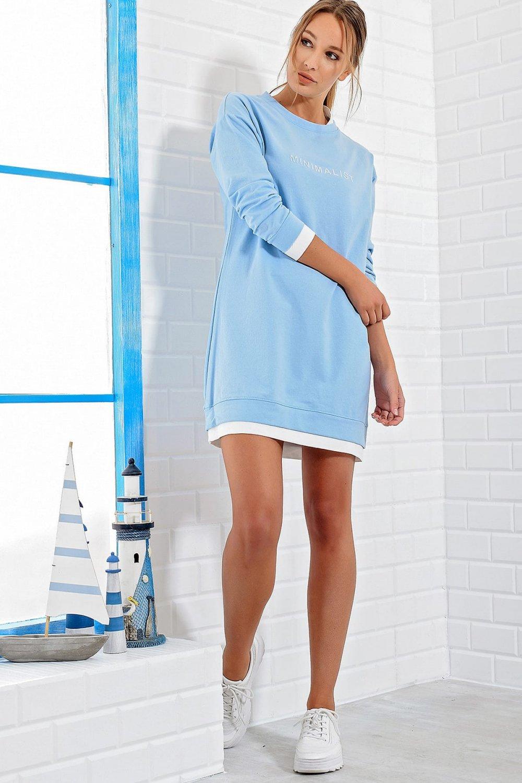 Trend: Alaçatı Stili Mavi Sweat Mini Elbise