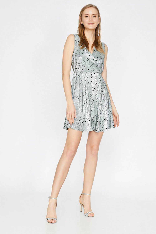 Koton Askılı Desenli Gri Mini Elbise