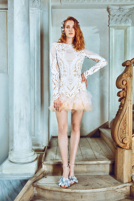 b884b344dc5e2 Raisa&vanessa For Trendyol Sırt Dekolteli Jessie Ekru Tül Detaylı Mini  Abiye Elbise