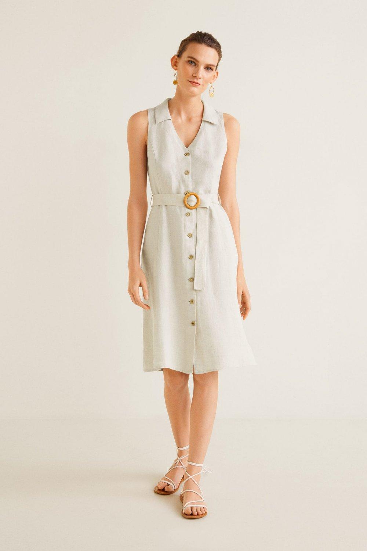 fabeffa884a5c Mango Açık/pastel Gri Kemerli Keten Midi Elbise | ElbiseBul