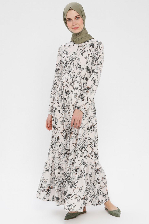 a810255c8d22f Panaline Haki Ekru Yakası Fırfırlı Elbise   ElbiseBul