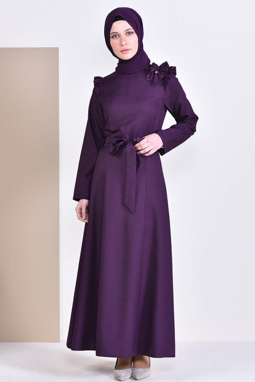 da5dc3432c5f6 Sefamerve Mor Taş Detaylı Kuşaklı Elbise   ElbiseBul