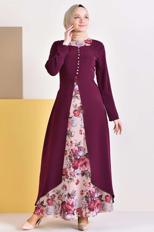 23c517ae78006 Sefamerve Mürdüm Düğme Detaylı Jakarlı Desenli Elbise | ElbiseBul