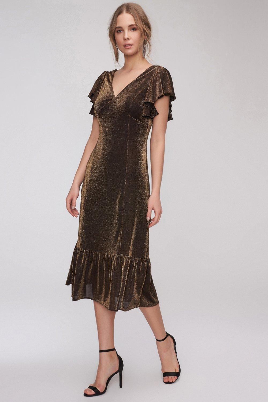 b32f6a23480fa People By Fabrika Siyah-Altın Volanlı Parlak Midi Abiye Elbise ...