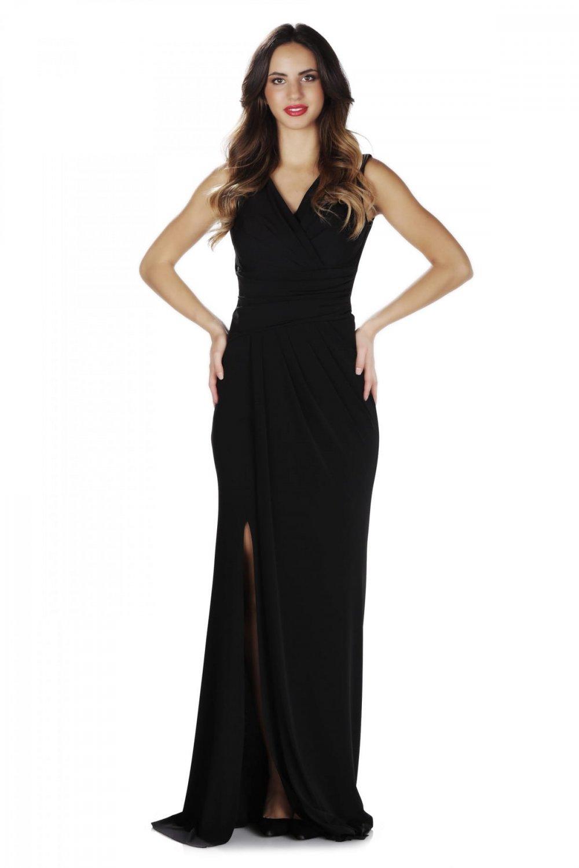5de30a21699fc Pierre Cardin Siyah Sandy Yırtmaçlı Uzun Abiye Elbise | ElbiseBul