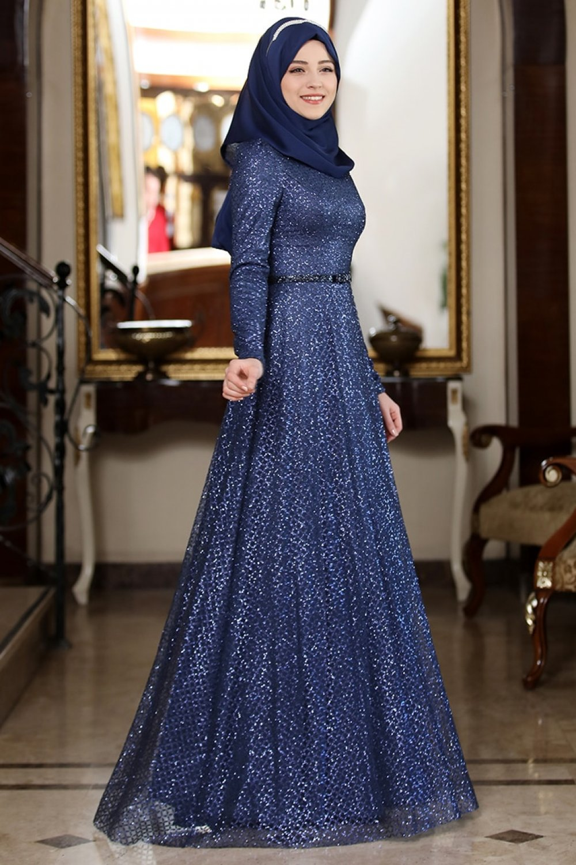 Al-Marah Lacivert Fulya Abiye Elbise