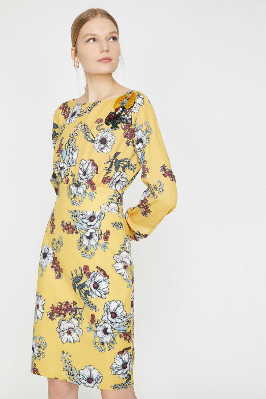 df2eae5e61b66 Koton Desenli Sarı Midi Elbise   ElbiseBul