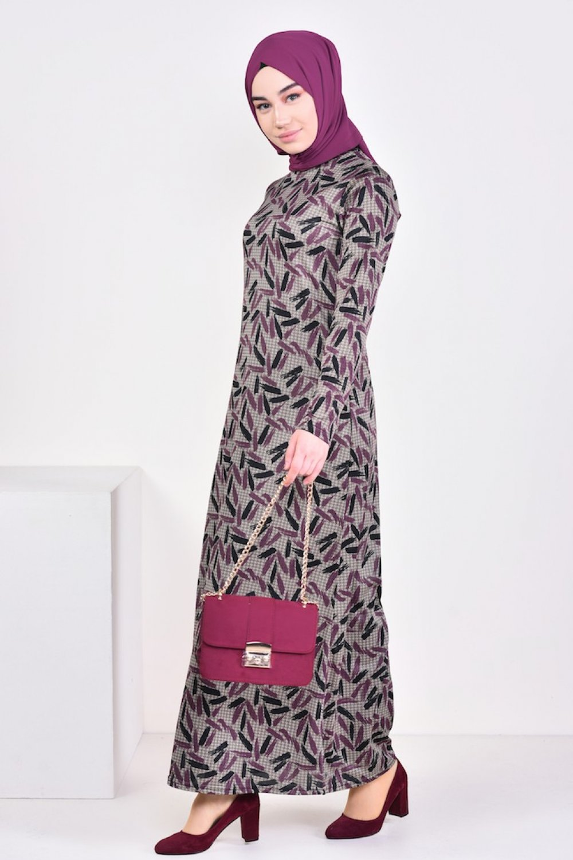 81caf04f4568a Sefamerve Vizon Mürdüm Desenli Elbise | ElbiseBul