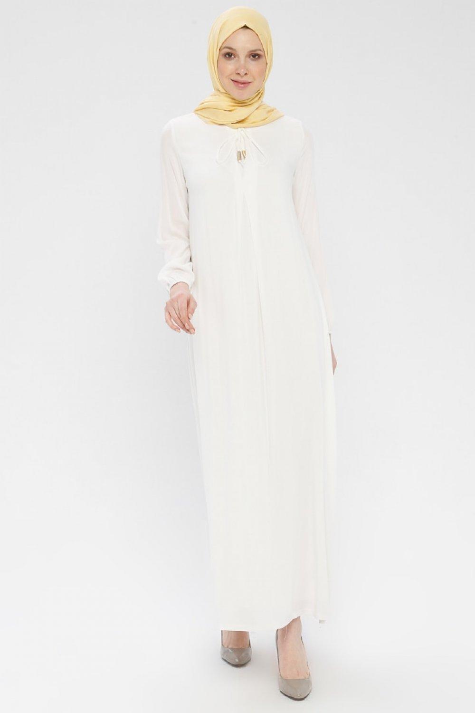 Ginezza Krem Beyaz Hac Ve Umre Elbise