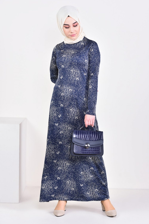 Sefamerve Lacivert Desenli Elbise