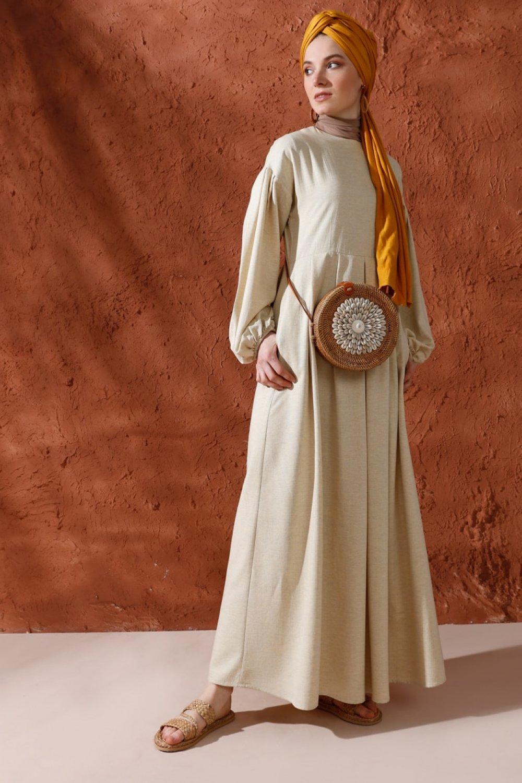 Mnatural Sarı Doğal Kumaşlı Pileli Keten Yazlık Elbise
