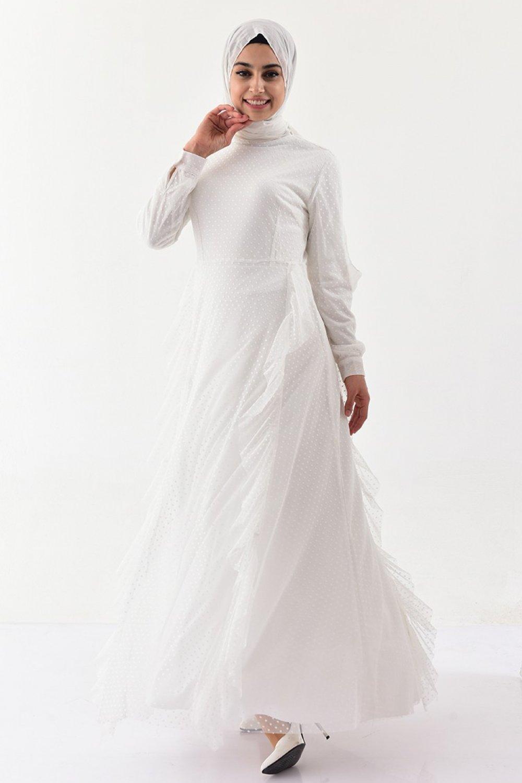 Sefamerve Ekru Fırfırlı Elbise