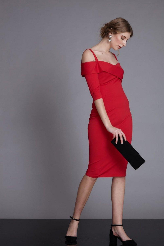 Keikei Askılı Kırmızı Krep Midi Abiye Elbise