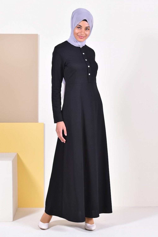 Sefamerve Siyah Düğme Detaylı Elbise