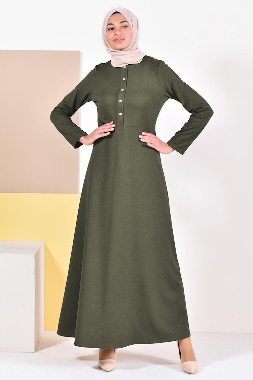 Sefamerve Haki Düğme Detaylı Elbise