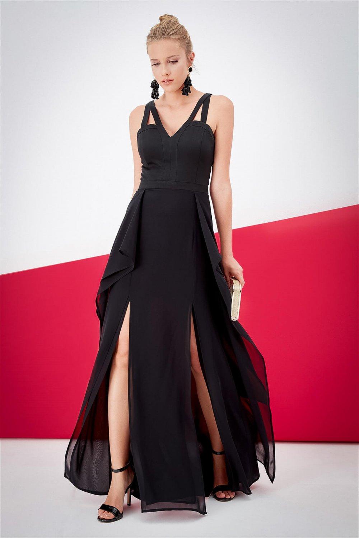 Journey Siyah Uzun Abiye Elbise