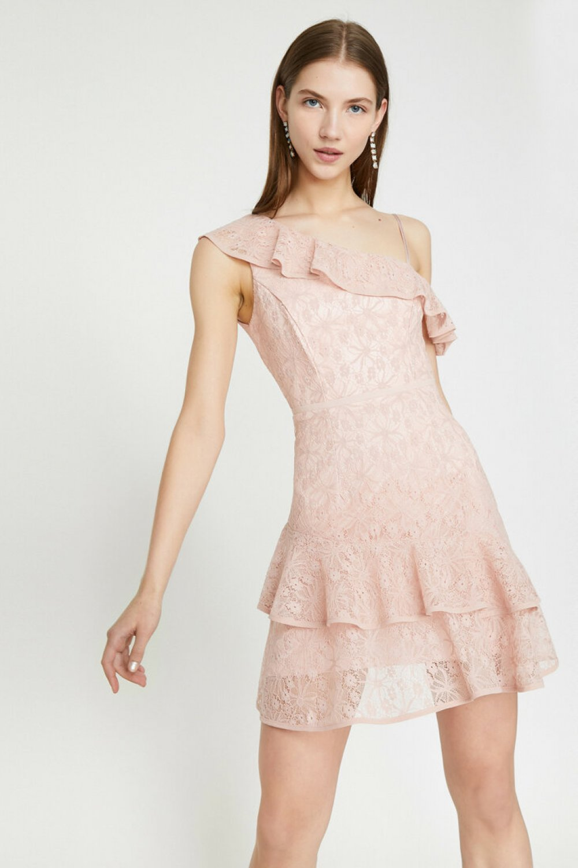 Koton Askılı Omuz Detaylı Pembe Mini Elbise