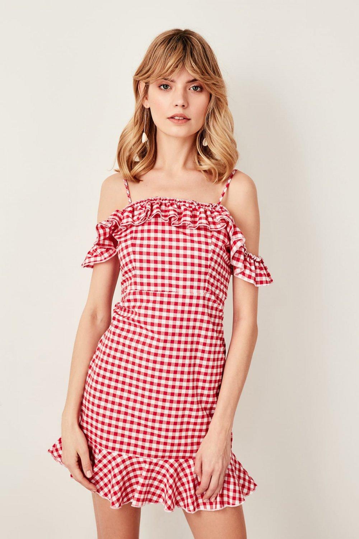 Trendyolmilla Askılı Kırmızı Fırfır Detaylı Mini Elbise