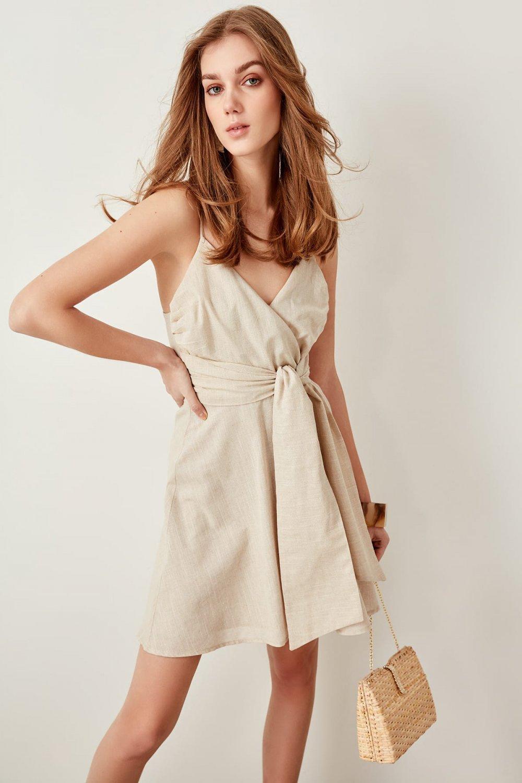 Trendyolmilla Askılı Taş Kemer Detaylı Mini Elbise