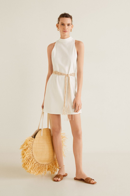 Mango Kırık Beyaz Perkins Yakalı Mini Elbise